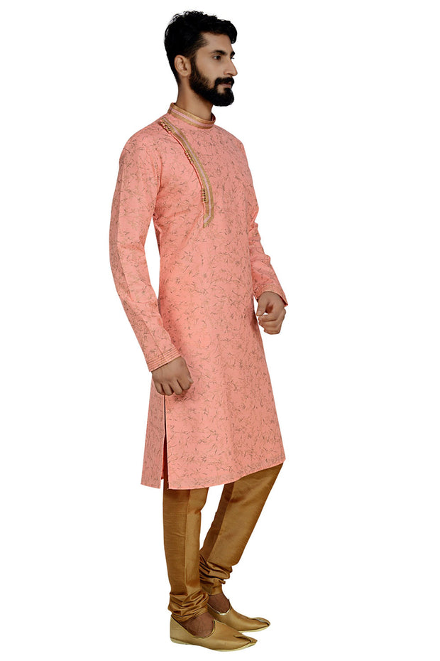 Men's Dhupion Art Silk Printed Kurta with Pyjama in Pink