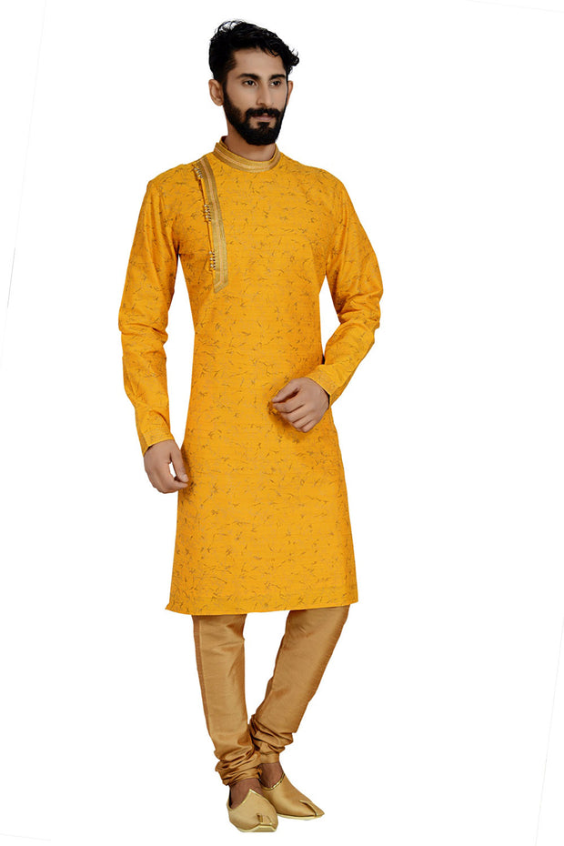 Men's Dhupion Art Silk Printed Kurta with Pyjama in Yellow