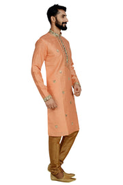 Men's Dhupion Art Silk Printed Kurta with Pyjama in Light Green