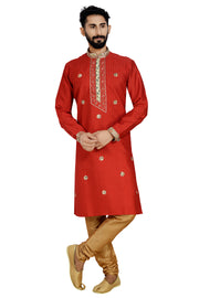 Atool Dhupion Art Silk Kurta with Pyjama in Red