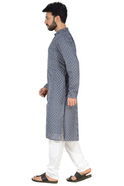 Men's Georgette Printed Kurta with Pyjama in Grey