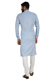 Men's Linen Oxford Printed Kurta with Pyjama in Blue