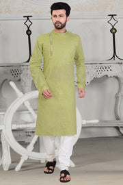 Men's Linen Embroidered Kurta Set in Green