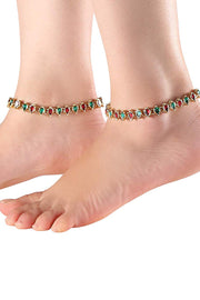Alloy Anklet in Red and Green