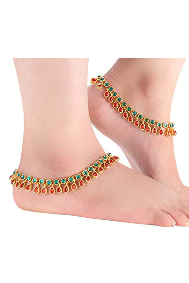 Alloy Anklet in Red and Blue