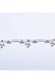 Women's Sterling Silver Anklet in Red and Blue