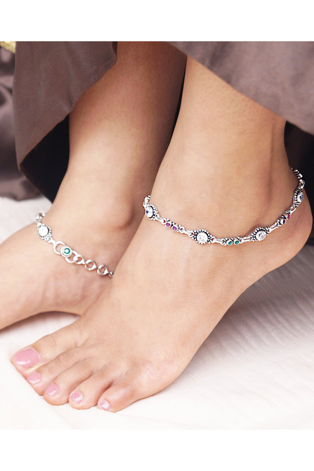 Women's Sterling Silver Anklet in Magenta and Green