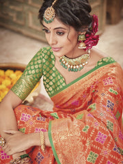 Stylee Lifestyle Banarasi Saree in Orange