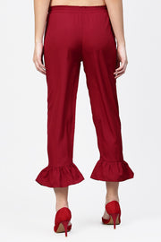 Women's Polyester Palazzo Pant in Maroon