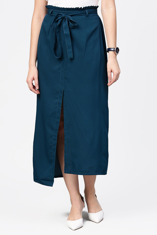 Women's Polyester Palazzo Pant in Blue
