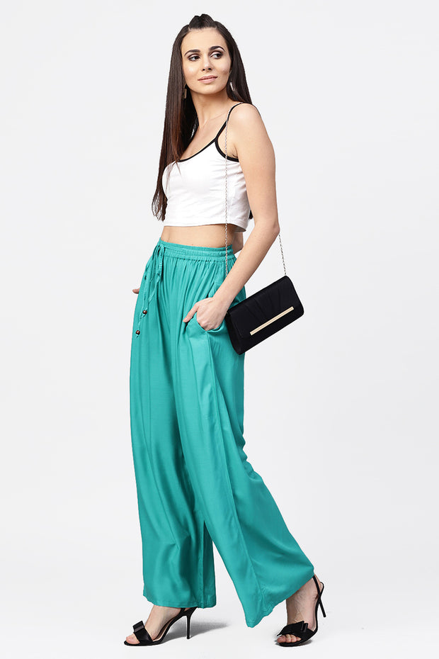 Women's Viscose Rayon Palazzo Pant in Turquoise Blue