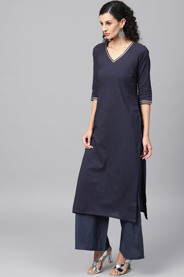 House Of Nayo Pure Cotton Straight Kurta Suit Set in Navy Blue