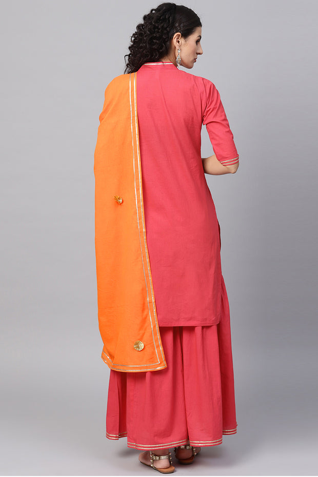 Women's Pure Cotton Straight Kurta Suit Set in Red