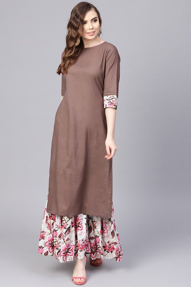 Women's Pure Cotton Straight Kurta Suit Set in Brown