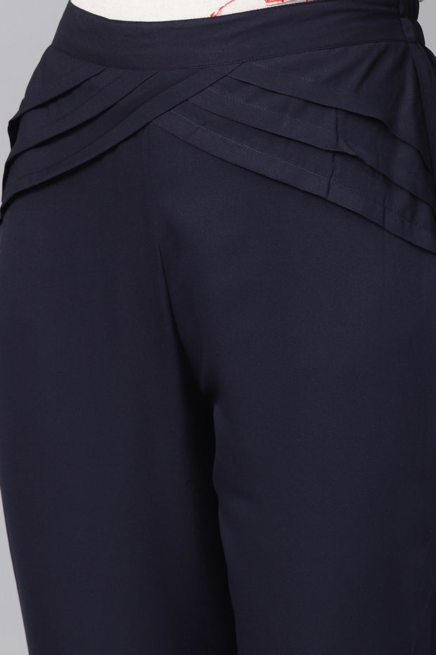 Women's Polyester Palazzo Pant in Navy Blue