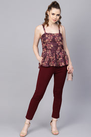House Of Nayo Viscose Rayon Top in Burgundy