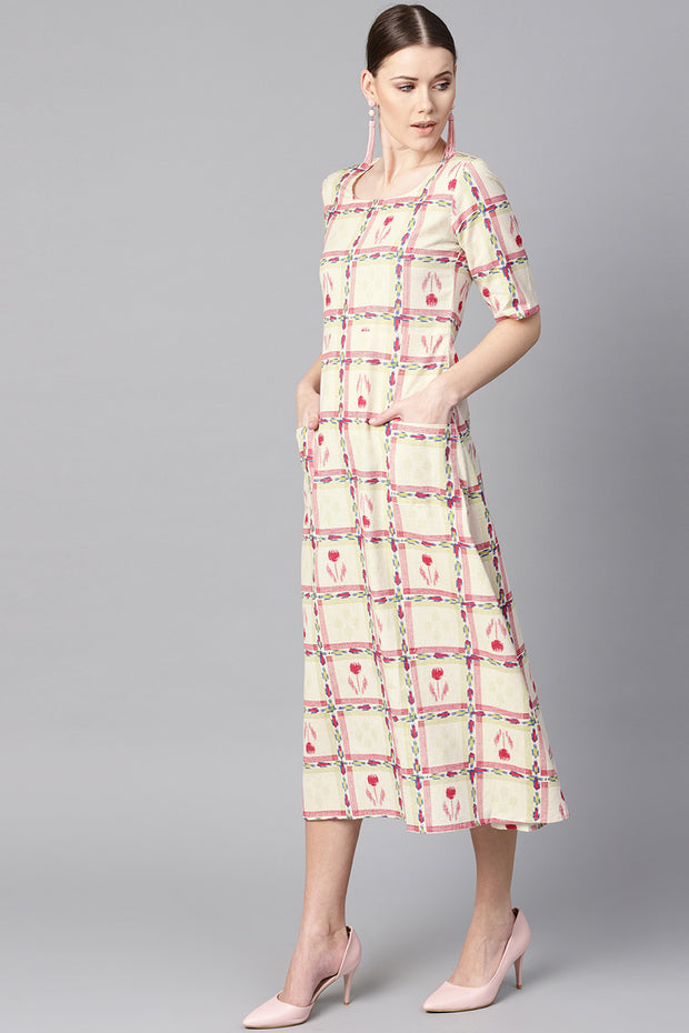 Women's Cotton A-Line Dress in Off-White