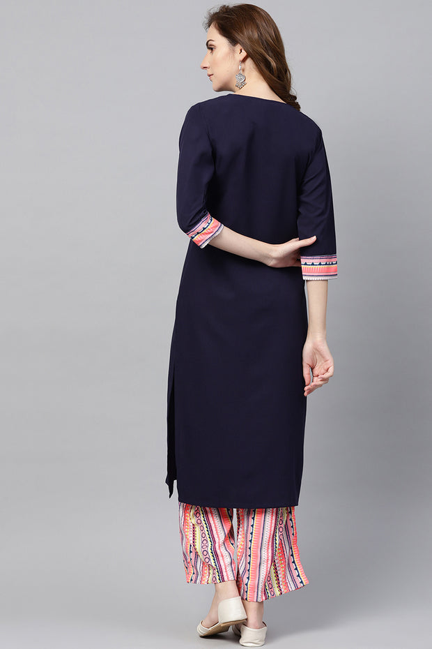 Women's Poly Crepe Straight Kurta Suit Set in Navy Blue
