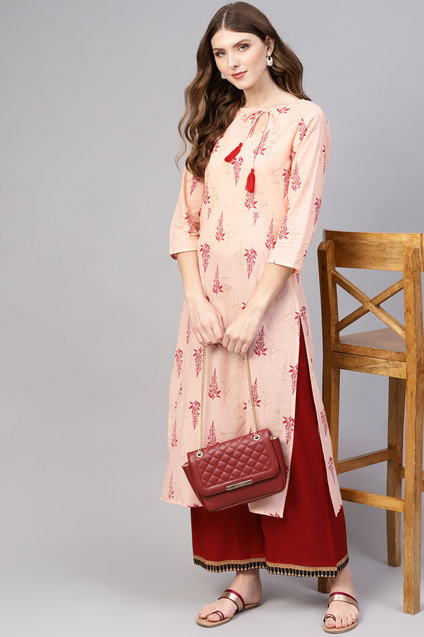 Blended Cotton Kurta in Peach