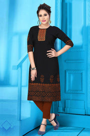 Buy Women's Slub Cotton Embroidery Work Kurta in Black