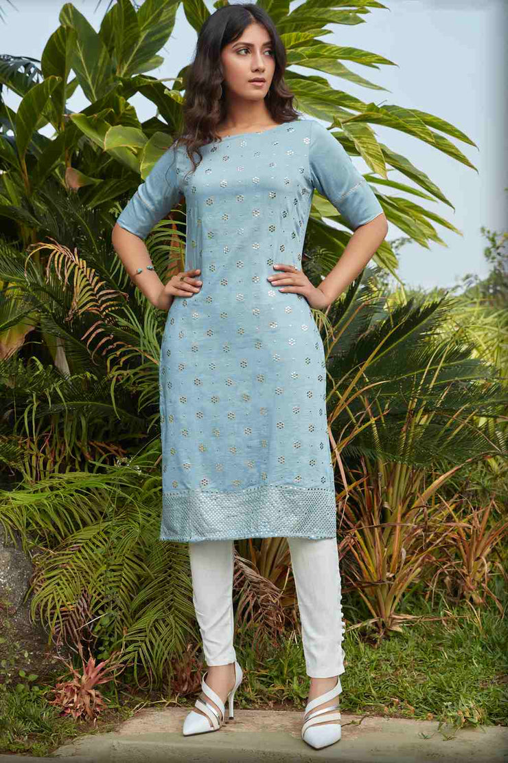 Buy Women's Cotton Art Silk Mukaish Work Kurta in Sky Blue