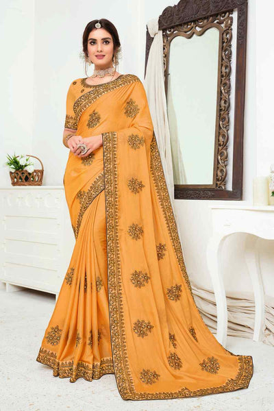 Buy Chinon Art Silk Embroidered Saree In Yellow