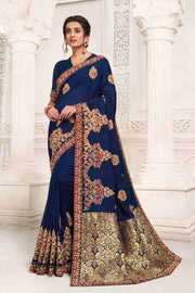 Buy Vichitra Art Silk Zari Saree In Navy Blue