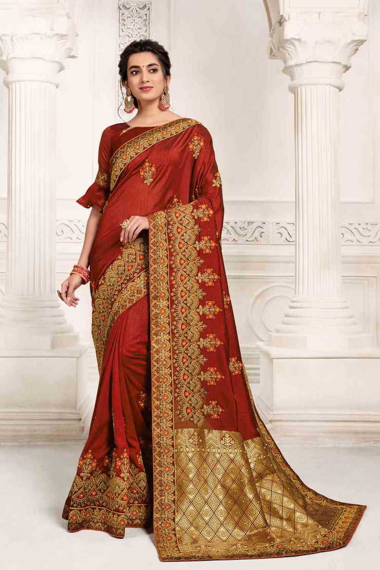 Buy Vichitra Art Silk Zari Saree In Maroon