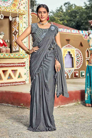 Buy American Crepe Plain Saree In Grey
