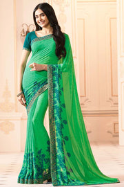 Buy Faux Georgette Printed Saree In Light Green