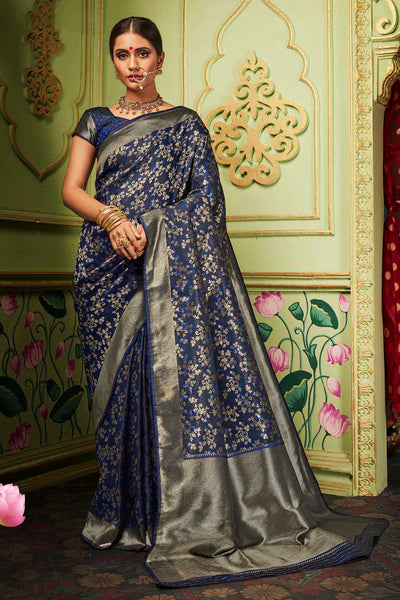 Buy Banarasi Art Silk Jacquard Woven Saree In Navy Blue