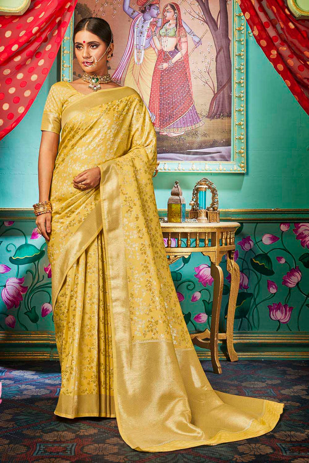 Buy Banarasi Art Silk Jacquard Woven Saree In Golden
