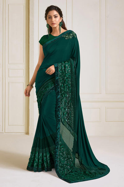 Buy Lycra Embroidered Saree in Green