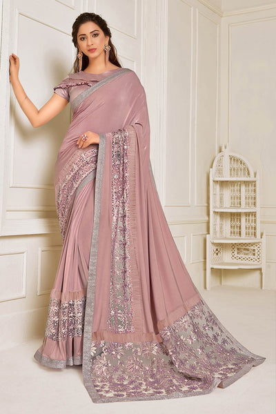 Buy Lycra Embroidered Saree in Pink