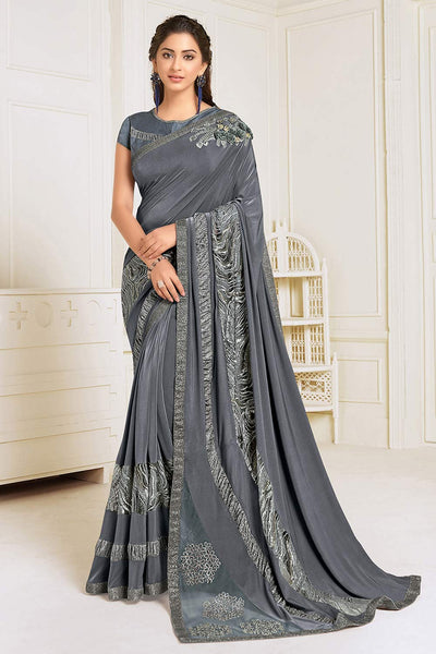 Buy Lycra Embroidered Saree in Grey