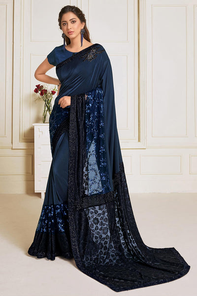 Buy Lycra Embroidered Saree in Navy Blue