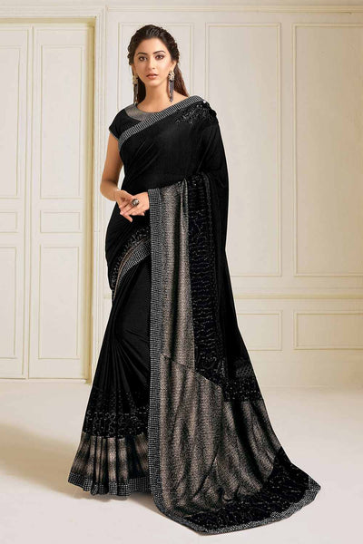 Buy Lycra Embroidered Saree in Black