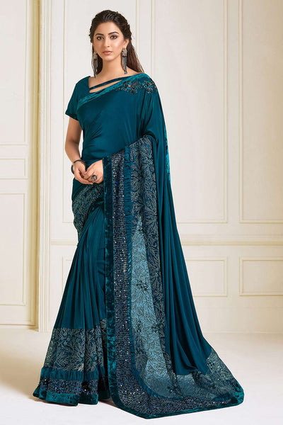 Buy Lycra Embroidered Saree in Teal blue