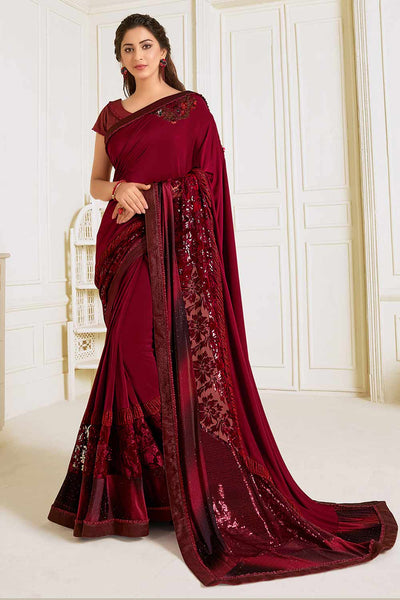Buy Lycra Embroidered Saree in Maroon