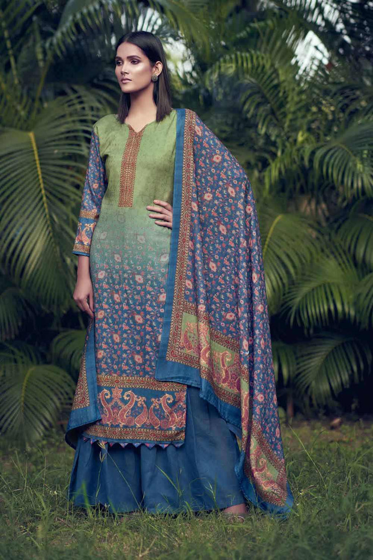Buy Pashmina Hand Work Dress Material in Royal Blue