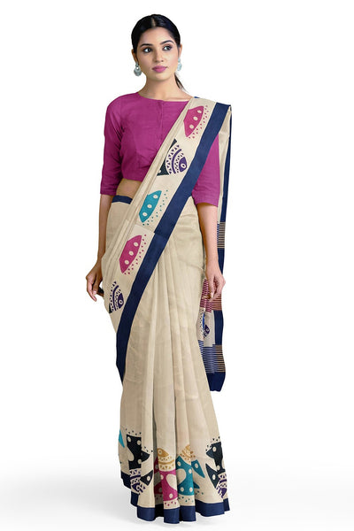 Buy Art Silk Printed Saree in Off White