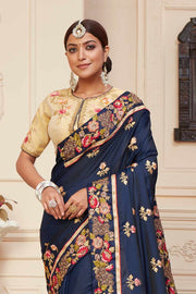 Shop Navy Blue Color Saree Online