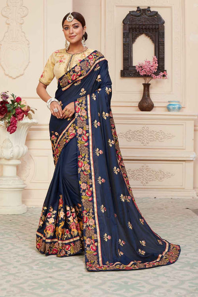 Buy Barfi Art Silk Zari Saree In Navy Blue