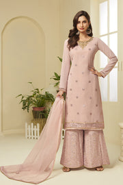 Buy Faux Georgette Embroidery Dress Material in Pink