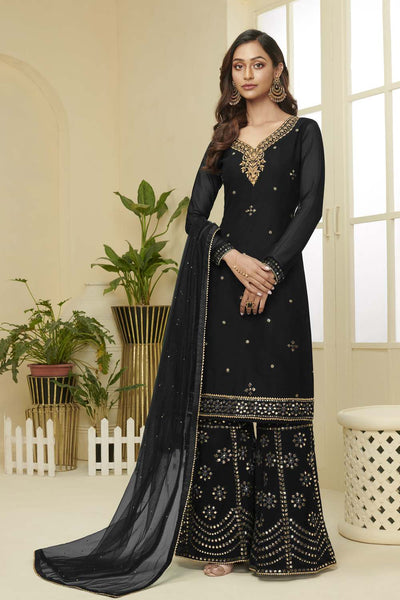 Buy Faux Georgette Embroidery Dress Material in Black