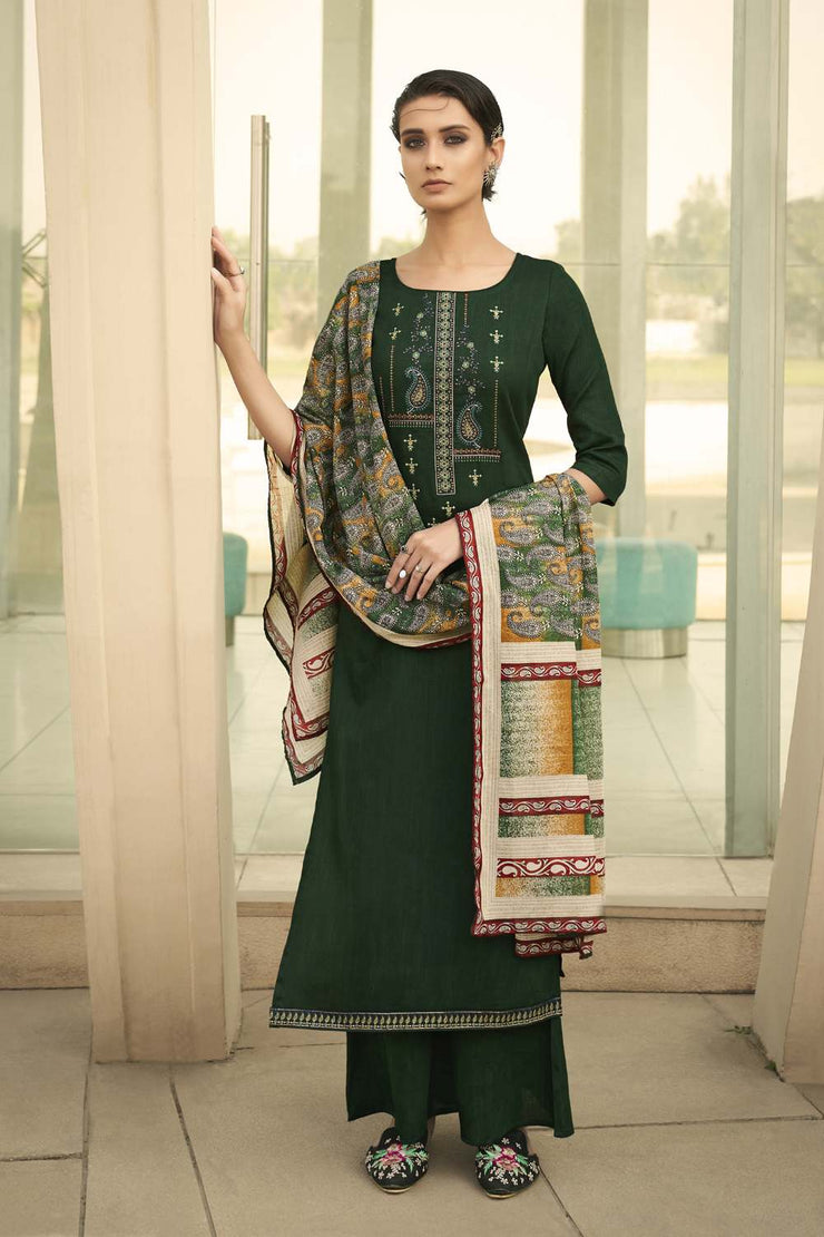 Buy Blended Cotton Embroidery Dress Material in Green