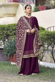 Buy Faux Georgette Embroidery Dress Material in Purple