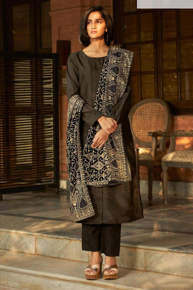 Buy Art Silk Solid Dress Material in Brown