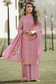 Buy Faux Georgette Embroidery Dress Material in Onion Pink