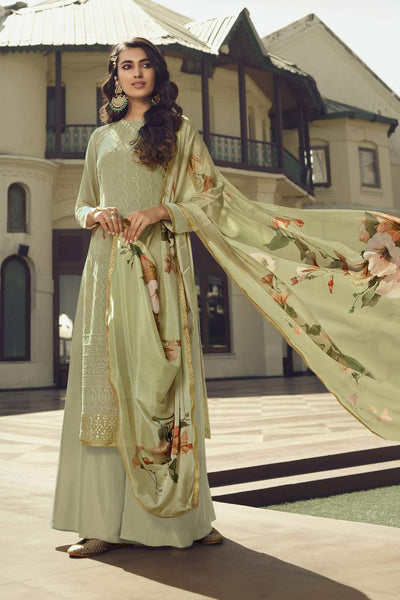 Buy Faux Georgette Embroidery Dress Material in Olive Green